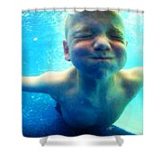 Happy Under Water Pool Boy Vertical Shower Curtain