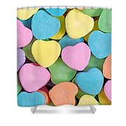Happy Valentines Day With Colorful Heart Shaped Candies Shower Curtain