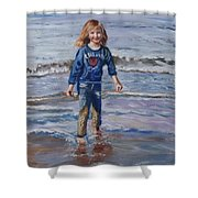 Happy With Sea And Sand Shower Curtain