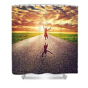 Happy Woman Jumping On Long Straight Road Shower Curtain