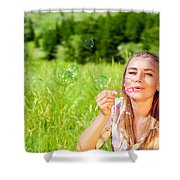 Happy Woman Outdoors Shower Curtain