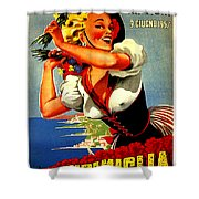 Happy Woman With Flowers, Festival In Ventimiglia, Italy Shower Curtain