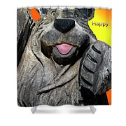 Happy Wooden Bear Craving Shower Curtain