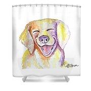 Happy Yellow Dog Shower Curtain