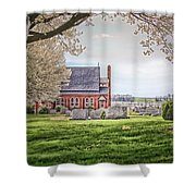 Harbaugh Church In The Spring Shower Curtain