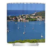 Harbor Blues Shower Curtain by Stephen Anderson