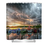 Harbor Fire Reflections Shower Curtain