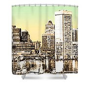 Harbor Lights From Federal Hill - Drawing Fx Shower Curtain