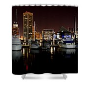 Harbor Nights - Trade Center In Focus Shower Curtain
