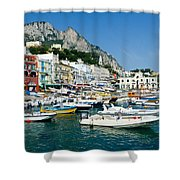 Harbor Of Isle Of Capri Shower Curtain by Jon Berghoff