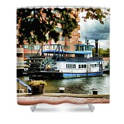 Harbor Park Ferry 5 Shower Curtain by Lanjee Chee