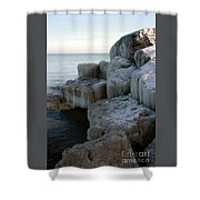 Harbor Rocks In Ice Shower Curtain
