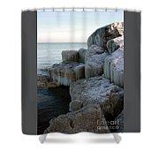 Harbor Rocks In Ice Shower Curtain by Kathy DesJardins