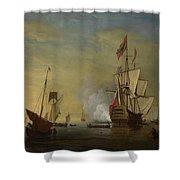 Harbor Scene An English Ship With Sails Loosened Firing A Gun Shower Curtain