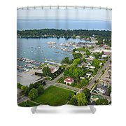Harbor Springs From Above Shower Curtain