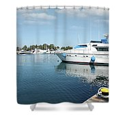 Harbor With Yacht And Boats Shower Curtain