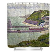 Harbour At Port En Bessin At High Tide Shower Curtain by Georges Pierre Seurat