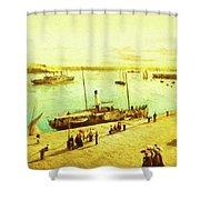 Harbour Parasols Shower Curtain by Sarah Vernon