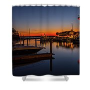 Harbour Town Lighthouse Sunset Shower Curtain