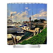 Harbour Town Marina Sea Pines Resort Hilton Head Sc Shower Curtain by Lisa Wooten