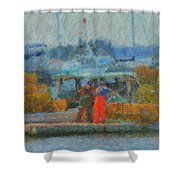 Hard Work At Lobster Dock Boothbay Harbor Maine Shower Curtain