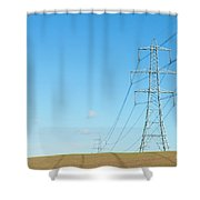 Hardly A Cloud In The Sky As Pylons Distribute Energy Through The Region. Shower Curtain