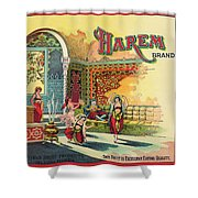 Harem Vintage Fruit Packing Crate Label C. 1920 Shower Curtain