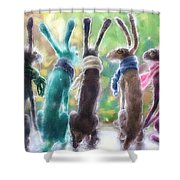 Hares With Scarves Shower Curtain