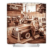 Harley 110 In Downtown Milwaukee Shower Curtain