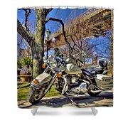 Harley Davidson And Brooklyn Bridge Shower Curtain