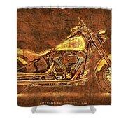 Harley Davidson Classic Bike, Original Golden Art Print For Man Cave Shower Curtain