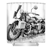 Harley Davidson Military Motorcycle Bw Shower Curtain