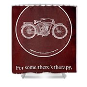 Harley Davidson Model 10b 1914 For Some There's Therapy, For The Rest Of Us There's Motorcycles, Red Shower Curtain