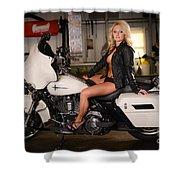 Harley Davidson Motorcycle Babe Shower Curtain