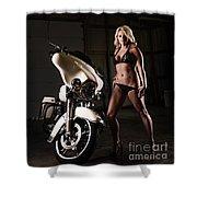 Harley Davidson Motorcycle Bikini  Shower Curtain