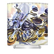 Motorcycle In Watercolor Shower Curtain