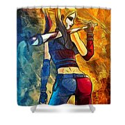 Harley Quinn Spicy  - Van Gogh Style -  - Da Shower Curtain