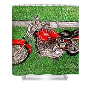 Harley Red Sportster Motorcycle Shower Curtain