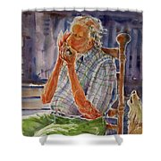 Harmonica Player And A Howler Shower Curtain