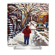 Winter Walk After The Snowfall Best Montreal Street Scenes Paintings Canadian Artist Paysage Quebec Shower Curtain