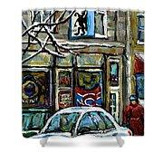 Achetez Les Meilleurs Scenes De Rue Montreal St Henri Cafe Original Montreal Street Scene Paintings Shower Curtain