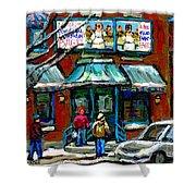 Achetez Les Meilleurs Scenes De Rue Montreal Boulangerie St Viateur Original Montreal Street Scenes  Shower Curtain