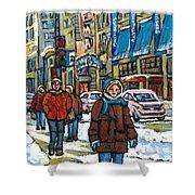Achetez Les Meilleurs Scenes De Rue Montreal Best Original Art For Sale Montreal Streets Paintings Shower Curtain