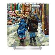 Exceptional Canadian Artist Winter Scene Paintings Downtown Montreal Achetez Scenes De Quebec  Shower Curtain