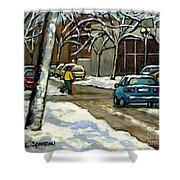 Canadian Artist Winter Scenes Original Paintings Quebec Streets Achetez  Montreal Art Online Shower Curtain