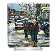 Best Canadian Winter Scene Paintings Original Montreal Art Achetez Scenes De Quebec Cspandau Shower Curtain