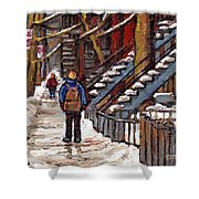 Canadian Art Winter Streets Original Paintings Verdun Montreal Quebec Scenes Achetez Les Meilleurs Shower Curtain
