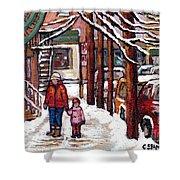 Canadian Winter Scene Paintings Original Art Verdun Montreal Achetez Scenes De Rue Quebec C Spandau  Shower Curtain