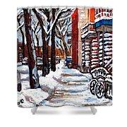 Canadian Winter Scene Paintings Original Art Verdun Montreal Achetez  Paysages De Quebec C Spandau Shower Curtain