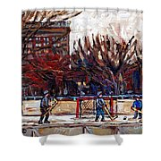 Paysages De Quebec Petits Formats A Vendre Hockey Rink Paintings Psc Original Montreal Street Scenes Shower Curtain
